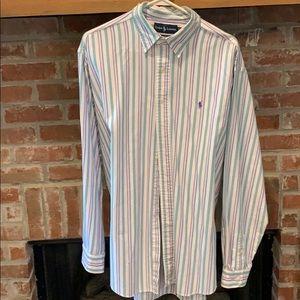 Long sleeve button down XL striped Polo